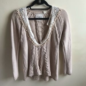 Anthropologie sweater with lace and pom-poms